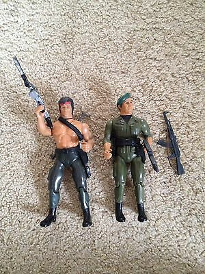 Vintage Rambo & Trautman Action Figures 1980s Rare Sly Stallone First Blood
