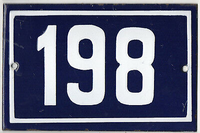 Old blue French house number 198 door gate plate plaque enamel metal sign steel