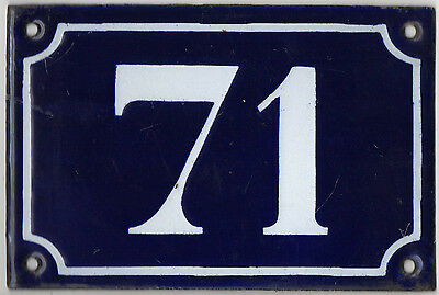 Old blue French house number 71 door gate plate plaque enamel metal sign c1900