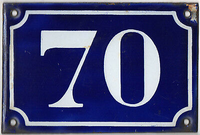 Old blue French house number 70 door gate plate plaque enamel metal sign c1900