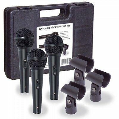 Soundlab Professional Dynamic Vocal Microphone Kit 3 Microphones, Holders & Case