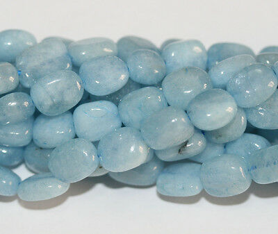 "15"" Fine Aquamarine Rectangular Pillow Beads Top Blue"