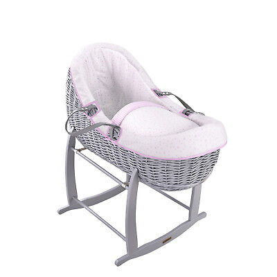 Clair De Lune Pink Stars & Stripes Grey Wicker Willow Bassinet Baby Moses Basket