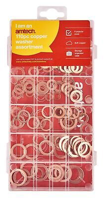 New 110pc Copper Washer Assortment Set Solid Sump Plug 6 8 10 11 12 16mm Storage