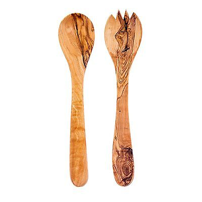 Naturally Med Olive Wood Spoon and Fork Salad Servers 30cm
