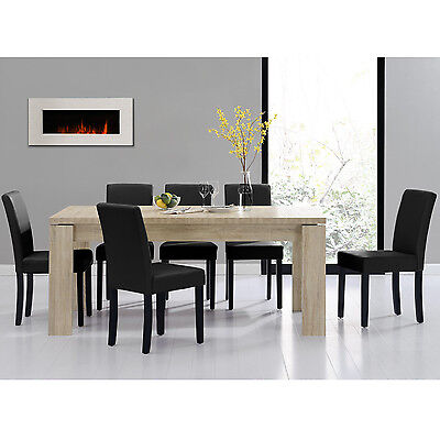 [en.casa] DINING TABLE 180x95 LIMED OAK + 6 CHAIRS BLACK DINING ROOM TABLE NEW