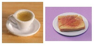 Dolls House Miniature:  Cup of Tea & a Slice of Toast :  in 12th scale