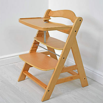 New Cuddles Collection Natural Beechwood Adjustable Wooden Highchair