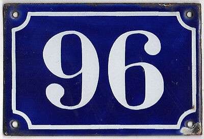 Old blue French house number 96 door gate plate plaque enamel metal sign c1900