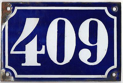 Old blue French house number 409 door gate plate plaque enamel metal sign c1900
