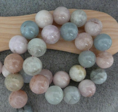 "Natural Beryl Mixed Color Temporary Strand, 10 mm Round Beads, 16"" Temporary Str"