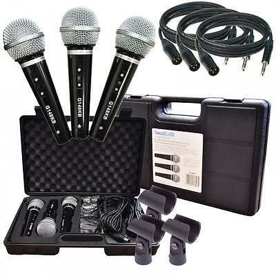 Soundlab Karaoke Dynamic Vocal Microphone Kit 3 Mic, Holders, Leads & Case BNIB