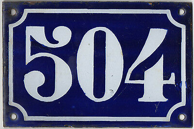 Old blue French house number 504 door gate plate plaque enamel metal sign c1900