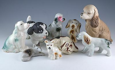 Vintage Lot of 9 Porcelain and Ceramic Dog Figurines Some Made In Japan