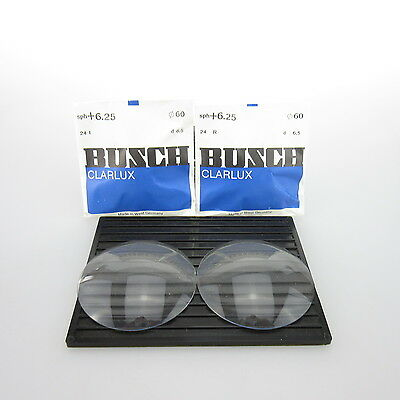 2x Busch Clarlux Ø 60mm  | sph. +6,25 | cyl. - | spectacle lens / Linsen