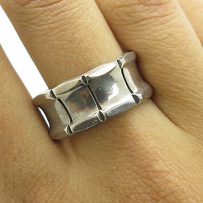 Mexico 925 Sterling Silver Wide Band Ring Size 9