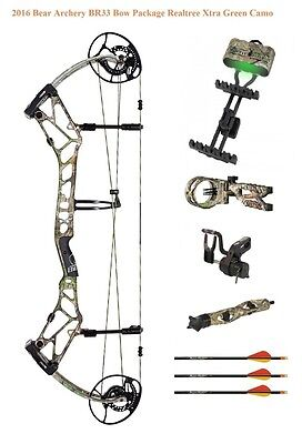 New 2016 Bear Archery BR33 55-70# LH Compound Bow Package Realtree Xtra Green