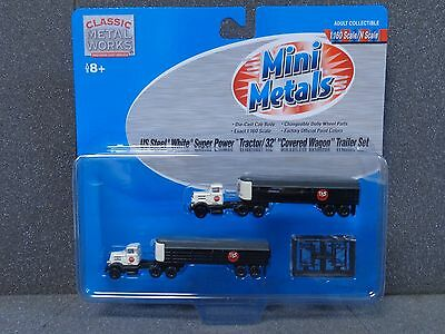 N US Steel White Super Tractor/ 32' Cover Wagon Set - Classic Metal Works #51141