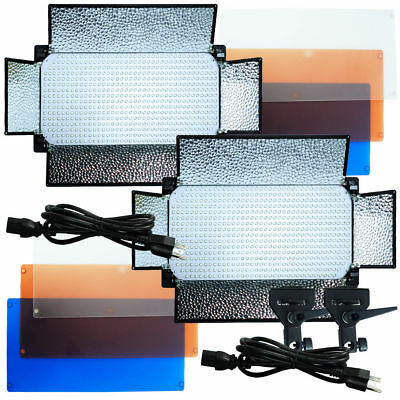 2 X 600 LED Light Panel Kit Photography Video Studio Lighting Dimmer Mount Photo