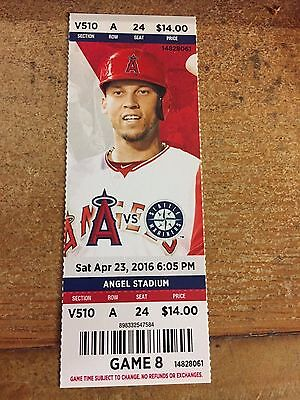2016 Los Angeles Angels Vs Seattle Mariners Ticket Stub 4/23 Mike Trout Hr #142
