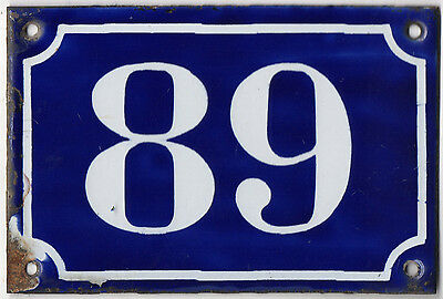 Old blue French house number 89 door gate plate plaque enamel metal sign c1900