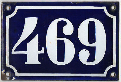 Old blue French house number 469 door gate plate plaque enamel metal sign c1900