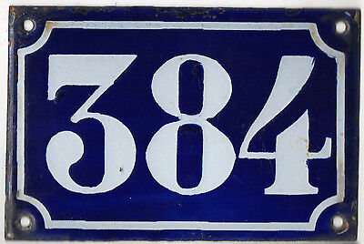 Old blue French house number 384 door gate plate plaque enamel metal sign c1900