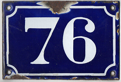 Old blue French house number 76 door gate plate plaque enamel metal sign c1900
