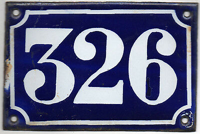 Old blue French house number 326 door gate plate plaque enamel metal sign c1900
