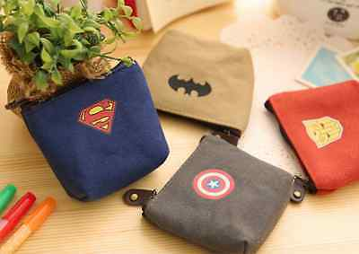 Canvas Super Hero Transformer Batman Captain America Coin Bag Pouch Wallet Case