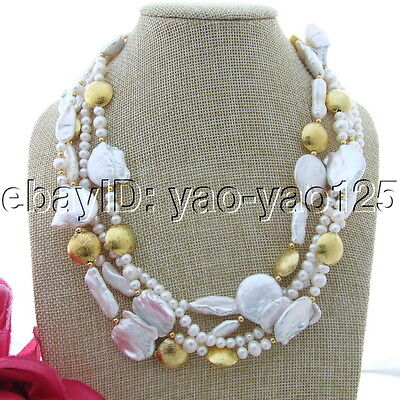 """45/"""" White Coin Pearl Amethyst Citrine Prehnite Long Necklace"""