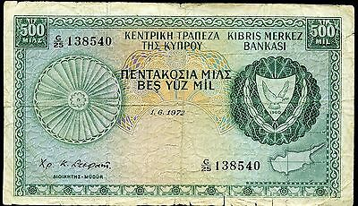 CYPRUS 500 Mils 1/6/1972 P-42a VG circulated banknote