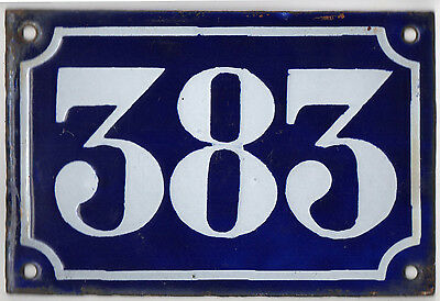 Old blue French house number 383 door gate plate plaque enamel metal sign c1900