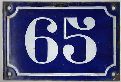 Old blue French house number 65 door gate plate plaque enamel metal sign c1900
