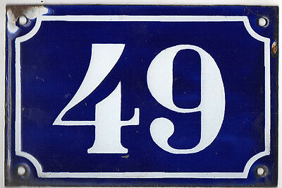 Old blue French house number 49 door gate plate plaque enamel metal sign c1900