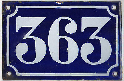 Old blue French house number 363 door gate plate plaque enamel metal sign c1900