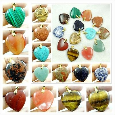 Mixed agate Healing Reiki Chakra Physical Heart pendant Gemstone Loose Beads