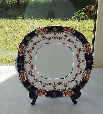 St Michael China Clyde Pottery England Imari Cake Plate 23cm Flow Blue and Rust