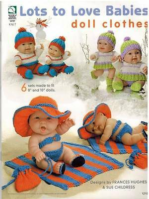 """Lots to Love 8"""" & 10"""" Baby Doll Clothes Knitting PATTERN 6 Outfits Fine Yarn"""