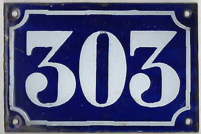 Old blue French house number 303 door gate plate plaque enamel metal sign c1900
