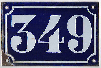 Old blue French house number 349 door gate plate plaque enamel metal sign c1900