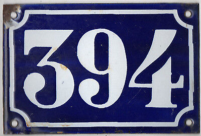 Old blue French house number 394 door gate plate plaque enamel metal sign c1900