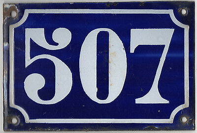 Old blue French house number 507 door gate plate plaque enamel metal sign c1900