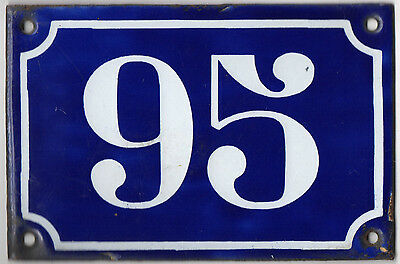 Old blue French house number 95 door gate plate plaque enamel metal sign c1900