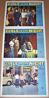 Girls In The Night (1953) Bad Girl Classic * Lot Of 3 Original Lobby Cards