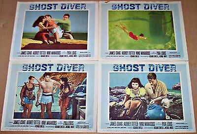 Ghost Diver (1957) Scuba * Horror * Audrey Totter Lot Of 4 Orig Lobby Cards