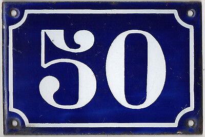 Old blue French house number 50 door gate plate plaque enamel metal sign c1900
