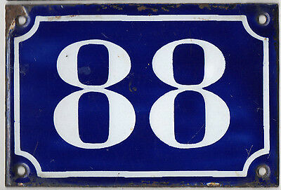 Old blue French house number 88 door gate plate plaque enamel metal sign c1900