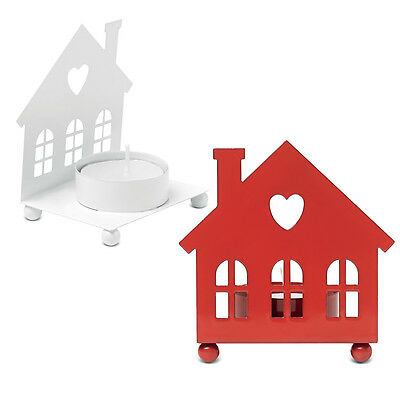 Metal White Red Love House Shape Tea Light Candle Holder Shabby Chic Heart Xmas