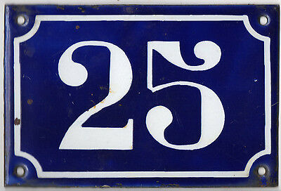Old blue French house number 25 door gate plate plaque enamel metal sign c1900